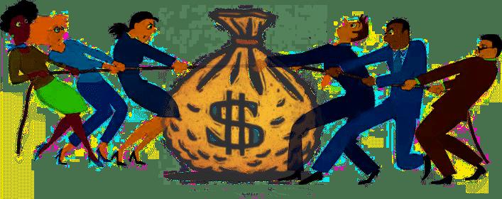 fighting over bag of money